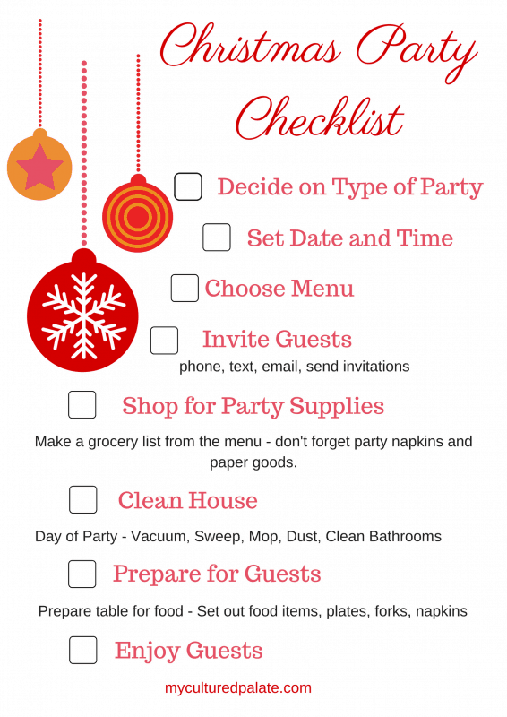 how to have a christmas party with free printable checklist