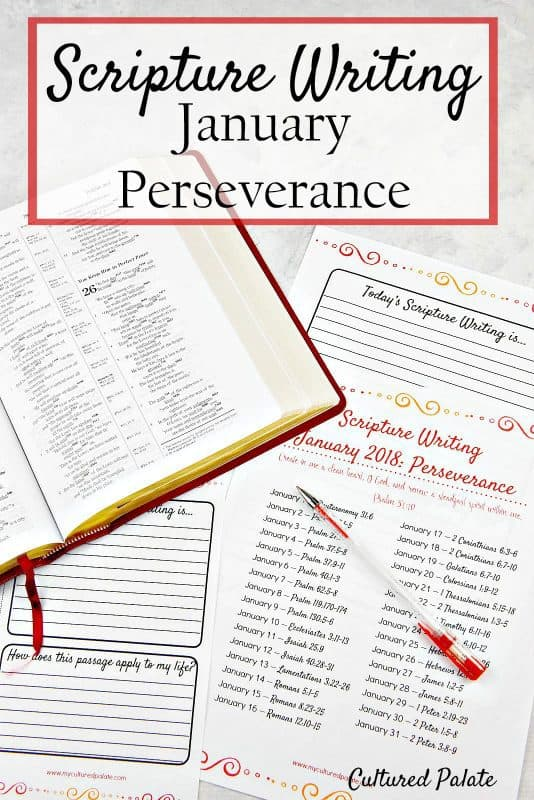 scripture writing January - perseverance
