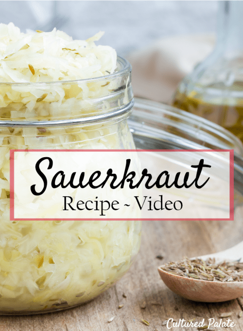 Homemade Sauerkraut Recipe shown in glass jar from how to make sauerkraut step by step