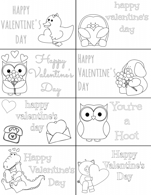 valentine's card to color