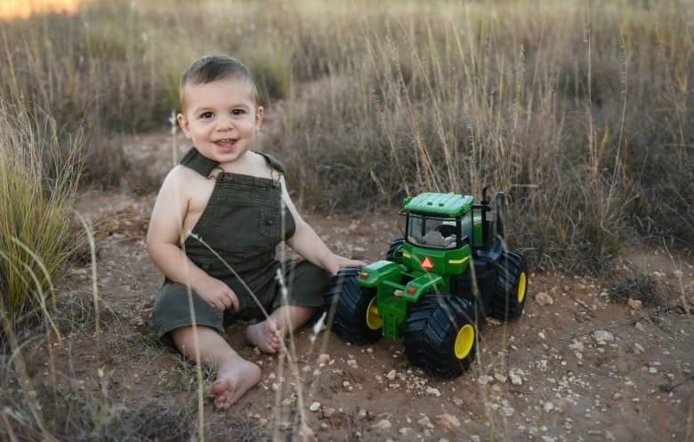 1 year old boy with tractor