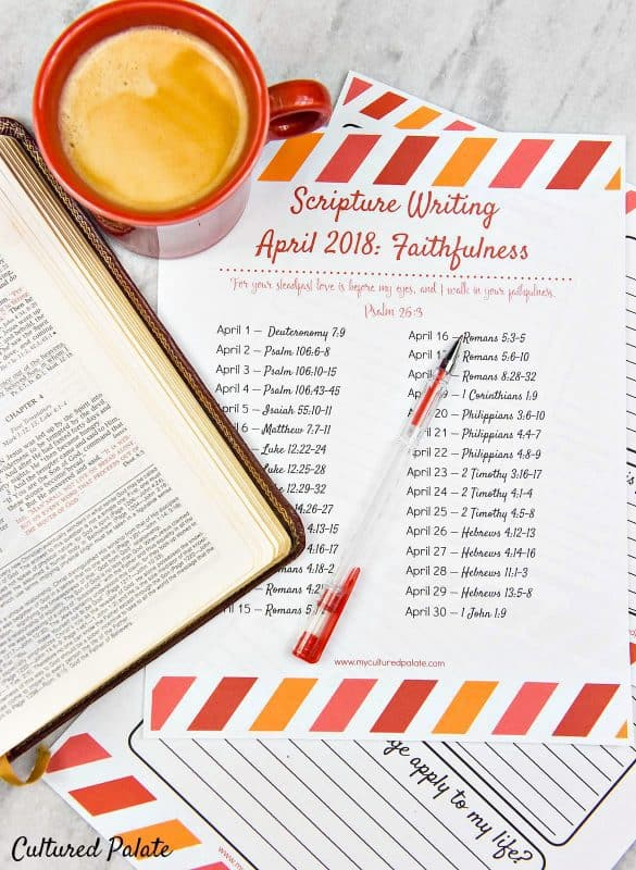 faithfulness of God verses shown with Bible, coffee and pen