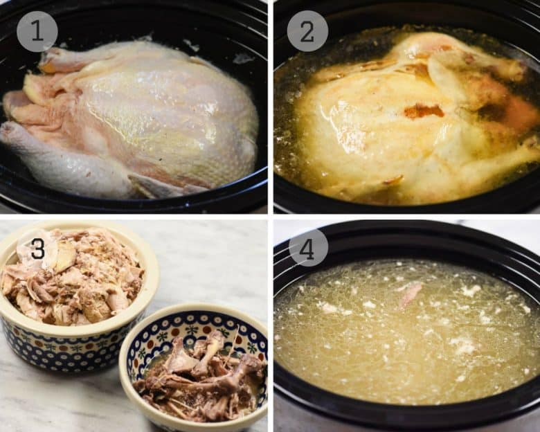 Steps shown to make chicken broth in the crockpot