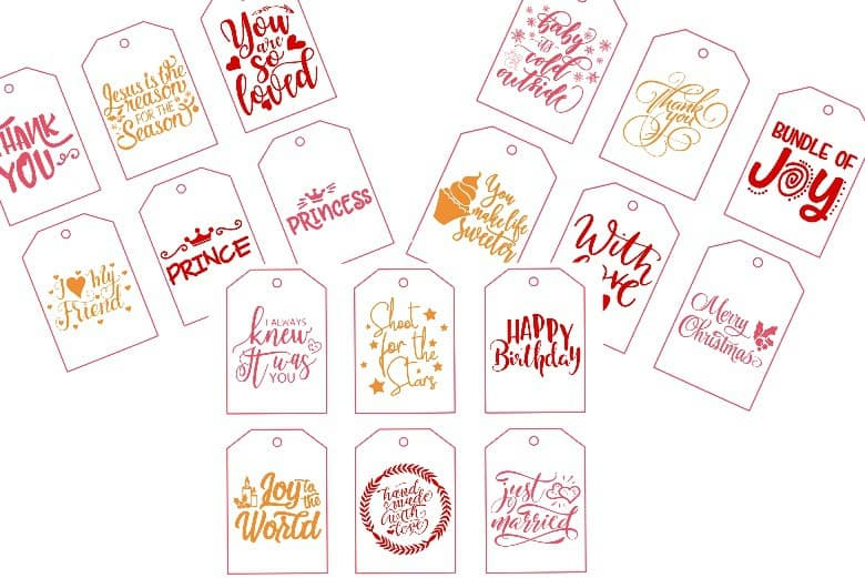 All occasion printable gift tags 3 pages shown
