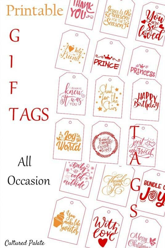 All occasion printable gift tags pin