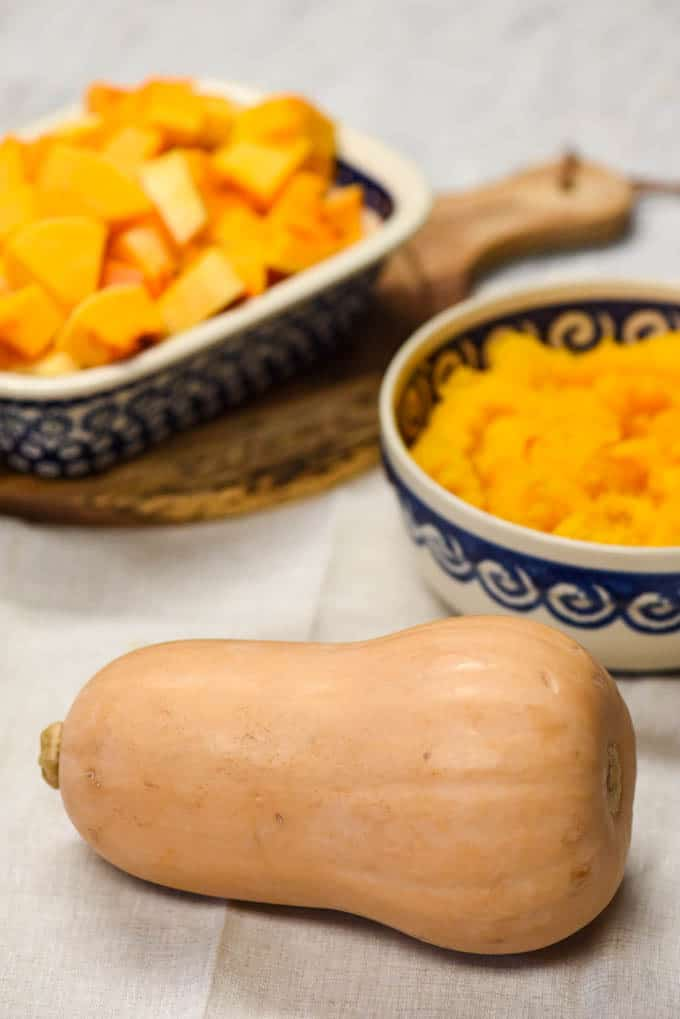 Health Benefits of Butternut Squash - squash shown whole, cubed and mashed