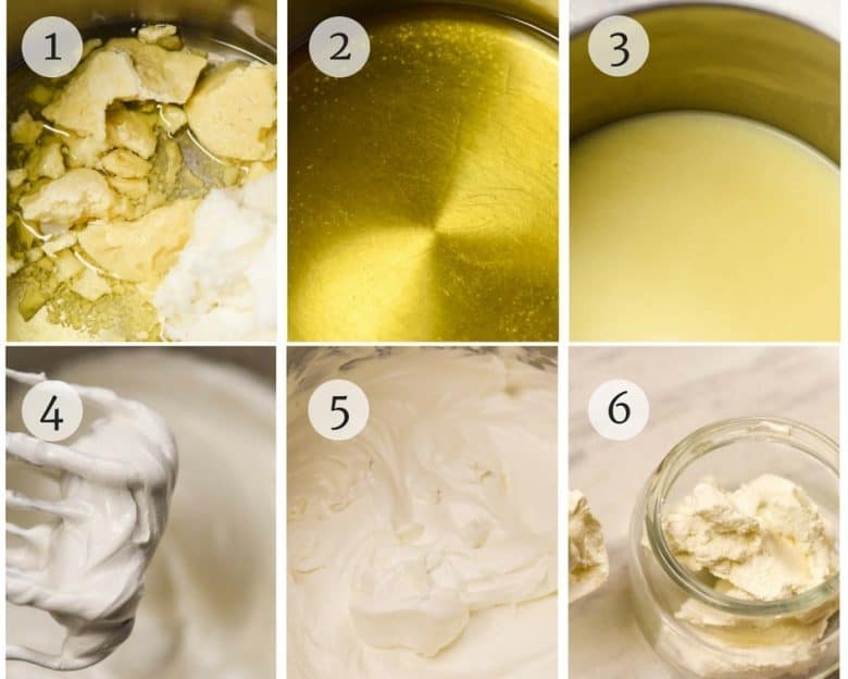 Photo tutorial showing the steps for Body Butter Recipe