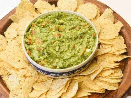 Easy Guacamole Recipe shown with chips