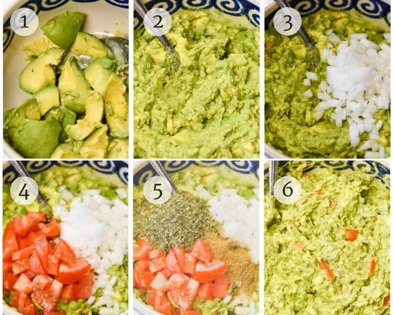 Easy Guacamole Recipe shown with step by step photos