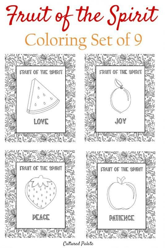 Fruit of the Spirit Coloring Pages with 4 different fruits shown