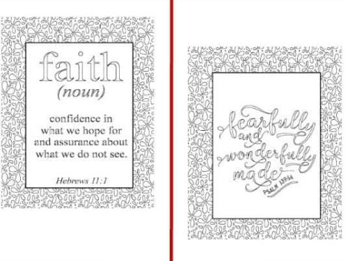 2 of the 5 designs from the Inspirational Coloring Pages set shown