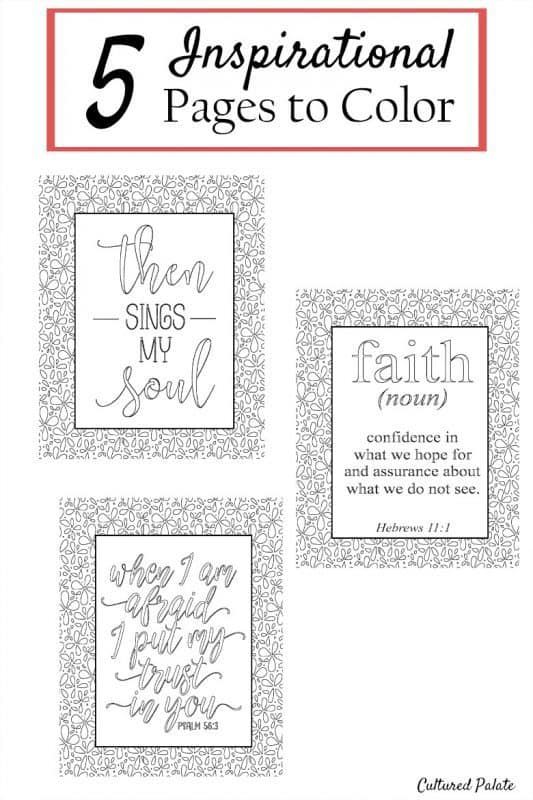 Inspirational Coloring Pages - Set of 5 | Cultured Palate