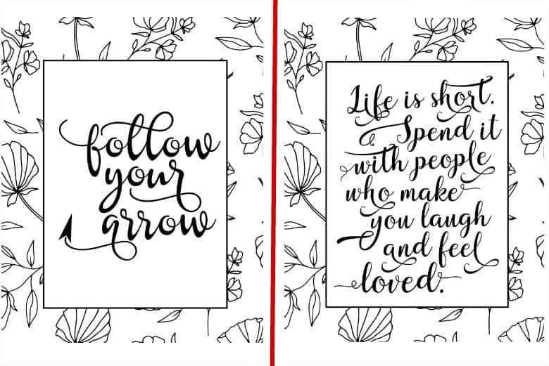 two of the 5 life is short coloring pages set shown side by side