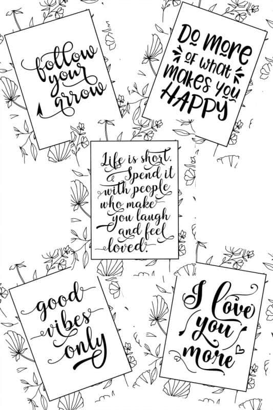 Life is Short Coloring Pages all 5 pages shown