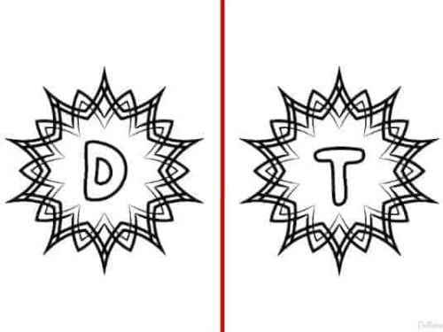 Letters d and t from the Alphabet Coloring Pages set of 5 shown