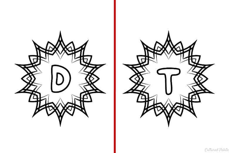 Letters D and t shown from the Alphabet Coloring Pages Set of 5