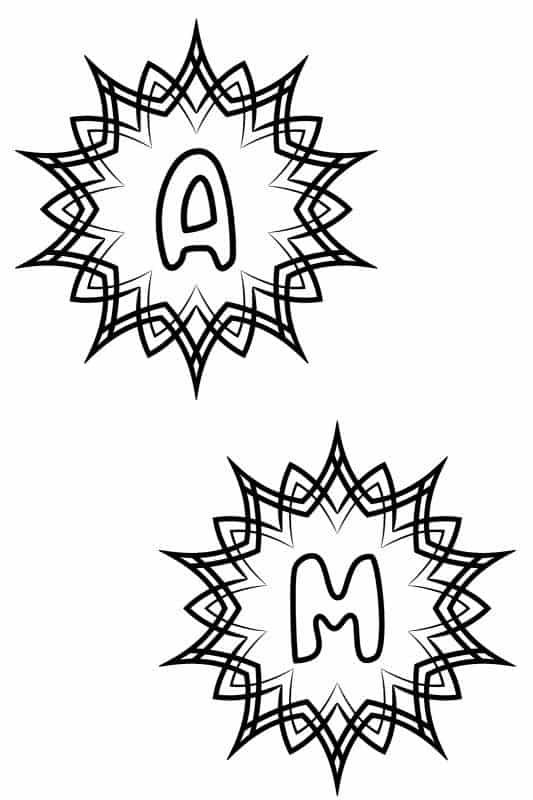 Letters a and m show from the Alphabet Coloring Pages Set of 5