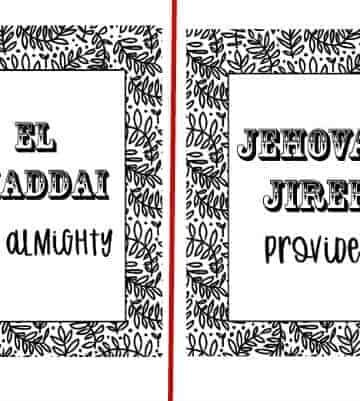 2 designs in the 5 coloring page set of the Hebrew Names of God set are shown
