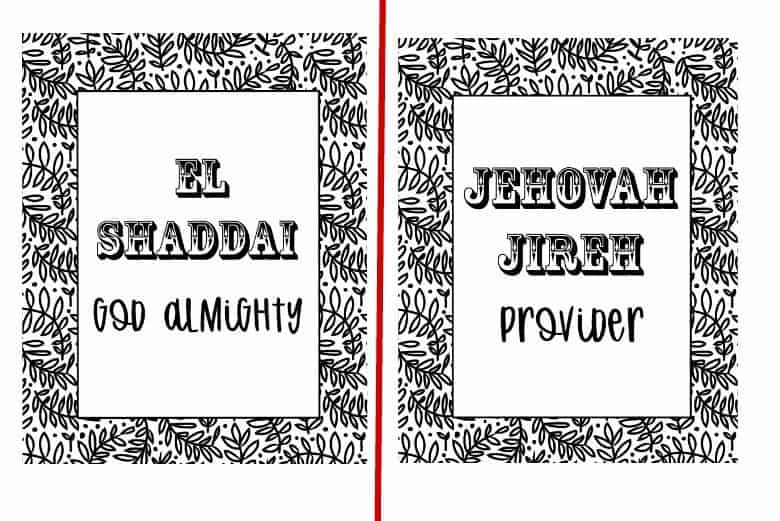 Names Of God In Hebrew Coloring Pages Cultured Palate