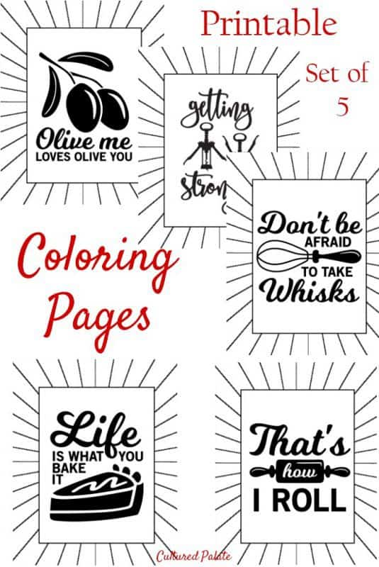 Printable Coloring Pages for Adults showing 5 designs and title