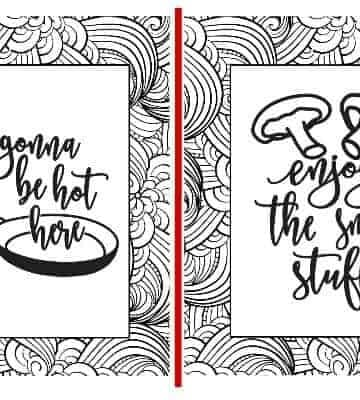 2 designs of the 5 set of printable coloring pages shown
