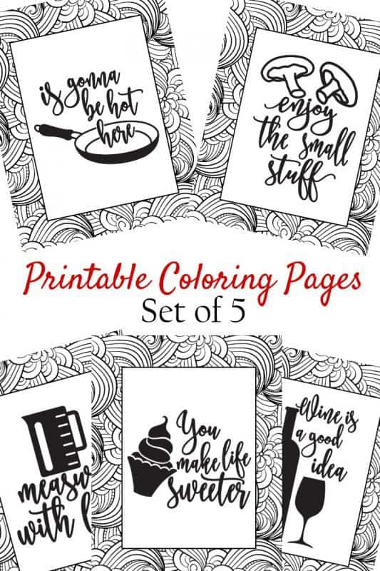5 printable coloring pages shown with title