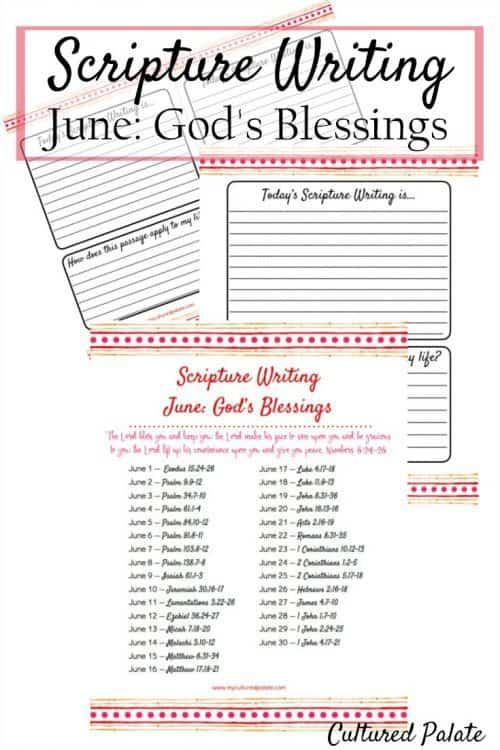 Bible Writing - Scripture Writing Verses for June pages shown