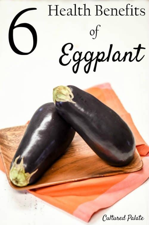 eggplant on white with title - Health Benefits of Eggplant