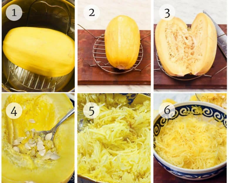 Steps for Instant Pot Spaghetti Squash shown step by step in photo tutorial