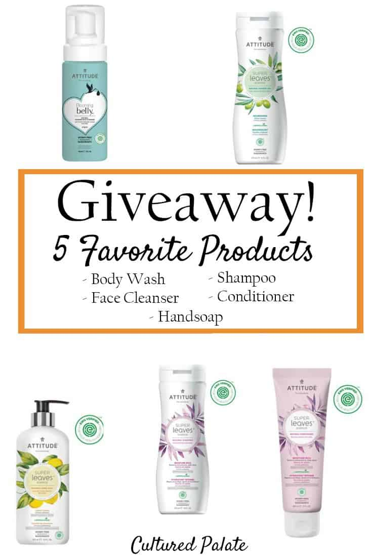 Attitude Giveaway. Enter to win 5 of my favorites healthy and safe beauty products in this giveaway. myculturedpalate.com #giveaway #safebeautyproducts