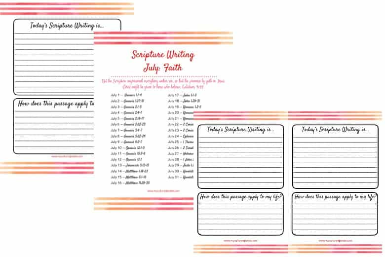 pages shown for Scripture Writing for July - lines pages and verses
