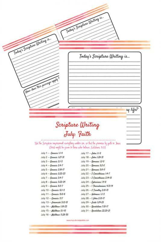 vertical images showing the 3 pages of Scripture Writing for July - verses and lined paper