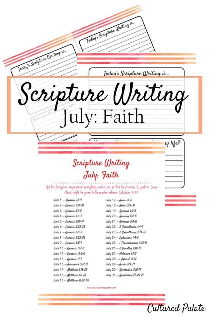 Scripture Writing is a wonderful Bible study plan. Taking no more than 10 mins each day, Bible writing can be used to dig deeper and get you into the Bible. myculturedpalate.com #biblestudy #scripturewriting #biblestudyplan #biblewriting