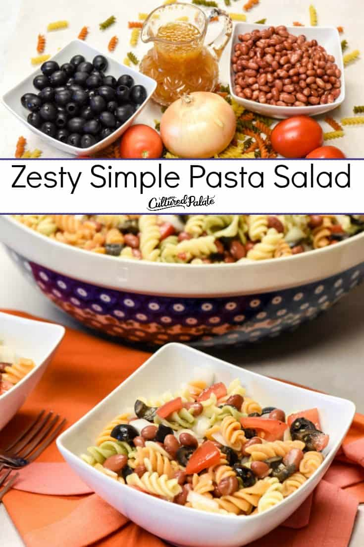 Simple Pasta Salad in white bowls with large serving bowl in background and fresh ingredients with text overlay.