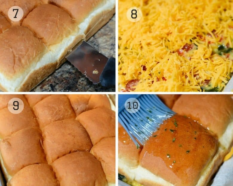 photo tutorial showing the steps to make Breakfast For Dinner Sliders Recipe steps 7 - 10