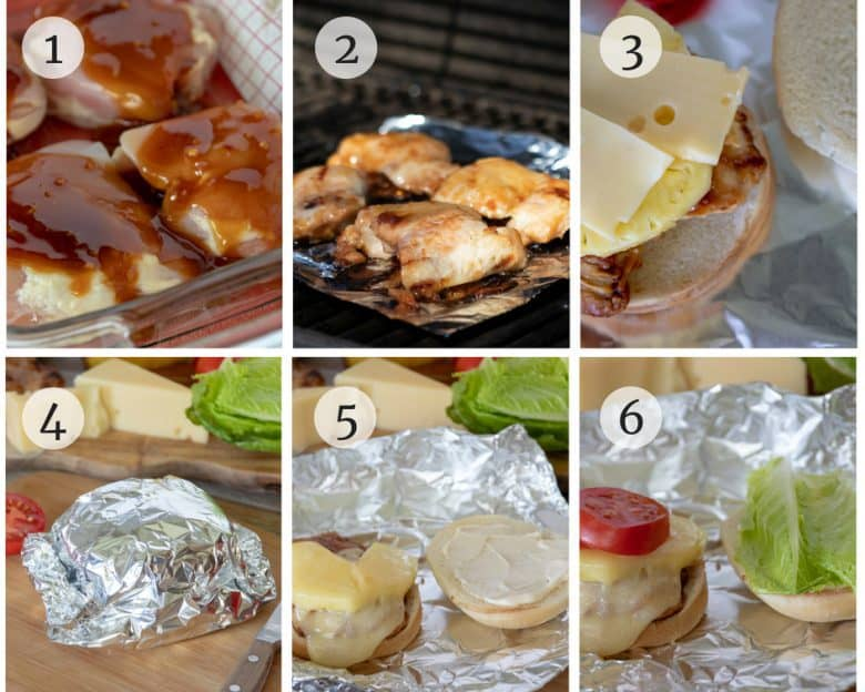Photo tutorial of chicken burgers being made and assembled