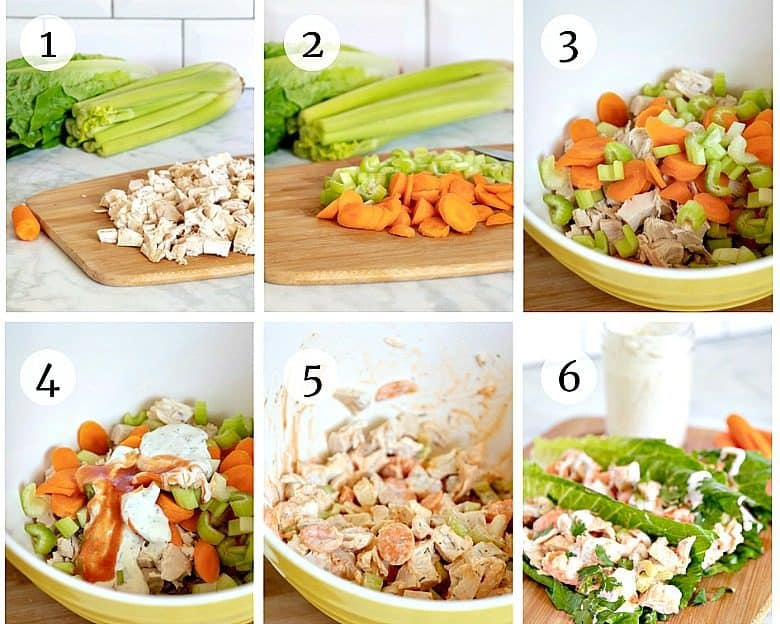 Photo tutorial showing the steps for making Chicken Lettuce Wraps
