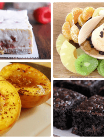 Four desserts shown made and ready to eat from the post Healthy Dessert Recipes - cheesecake, gooey cake, pears and fruit