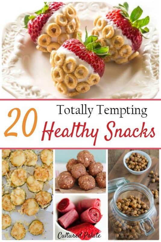 Five Healthy Snack Ideas shown from the post 20 Healthy Snack Recipes - strawberries, cookies , fruit leather and nuts