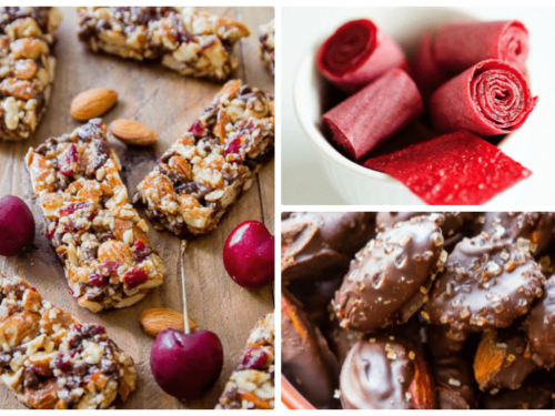 4 healthy snack recipes shown made and ready to eat - granola bars, chocolate covered almonds and fruit leathe