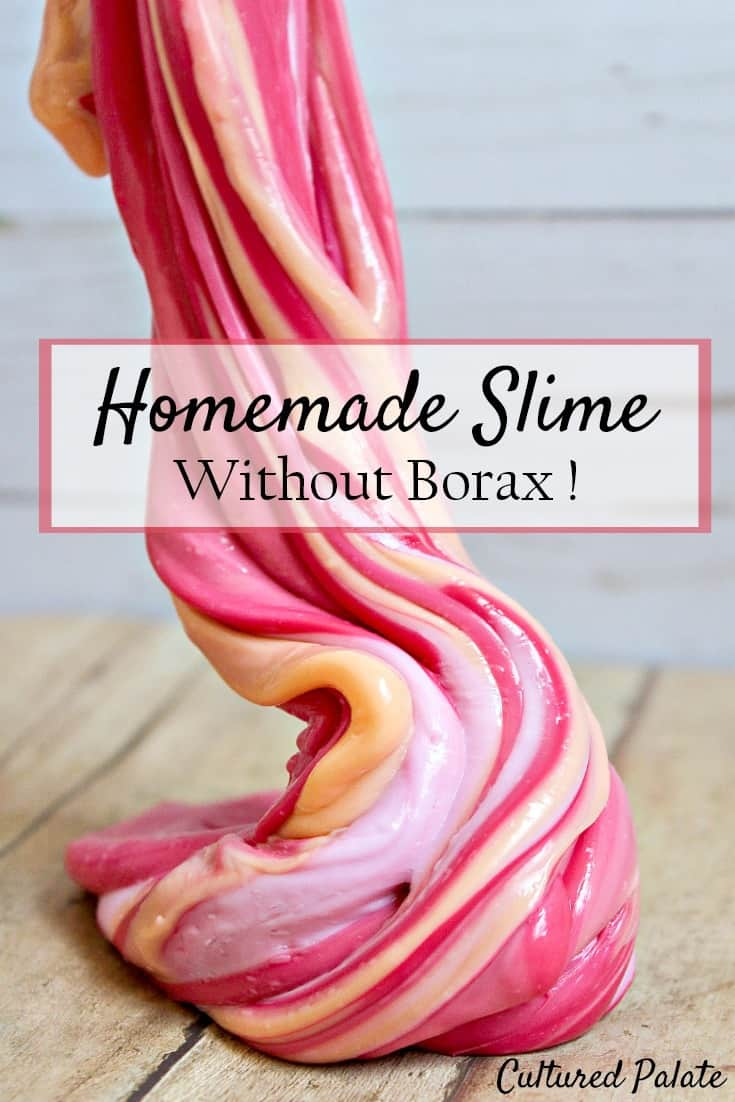 This homemade slime recipe without borax is a super easy homemade slime recipe and is sure to be a hit! myculturedpalate.com #slime #homemadeslimerecipe #slimerecipewithoutborax #kidcrafts