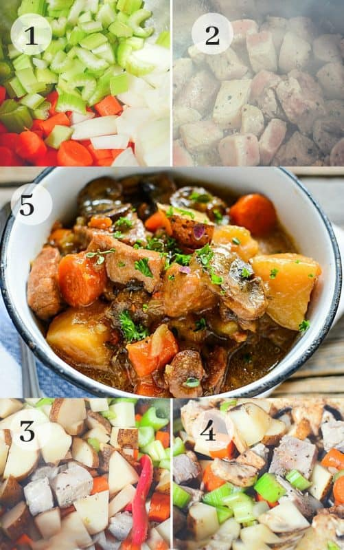 photo tutorial showing the steps to make pork stew