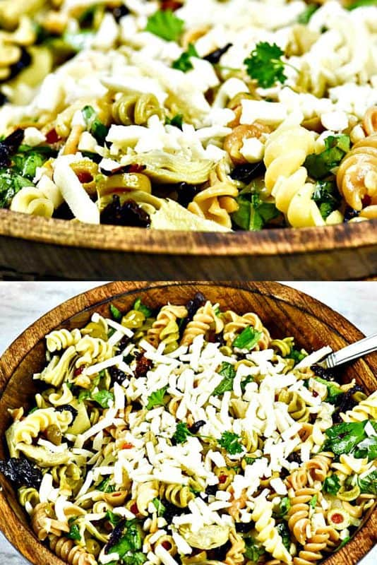 Vertical image of Italian Pasta Salad shown in a wooden bowl ready to serve both closeup and overhead