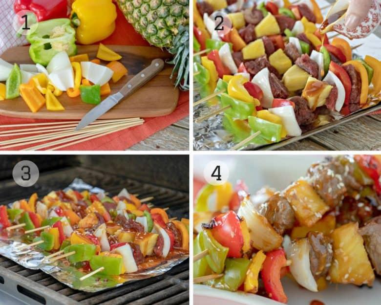 Photo tutorial showing the making of Teriyaki Beef Kabob Recipe