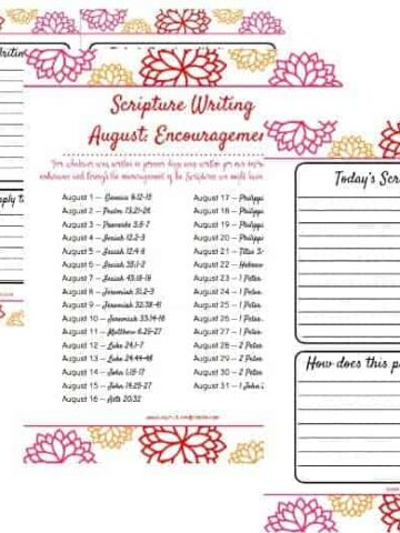 horizontal image of 3 pages showing the verses, half page and full page for the Scripture Writing verses for August