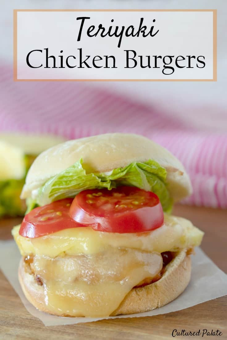 This Teriyaki Chicken Burgers Recipe is delicious made with a honey sweetened homemade teriyaki sauce. Chicken burgers are delicious grilled and great for BBQ's. myculturedpalate.com  #BBQ #chickenburgers #chickenburgersrecipe #teriyakichicken #chickensliders #sliders
