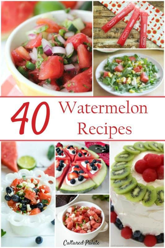 seven watermelon dishes including cake, salsa, salad, pizza from the post 40 Watermelon Recipes