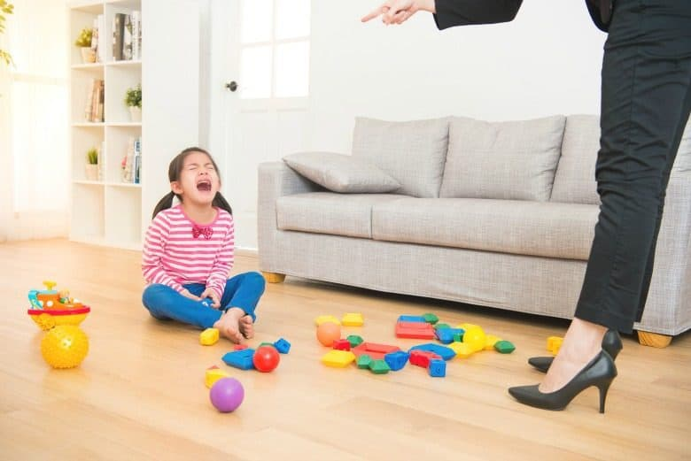 Child on floor crying and yelling with woman in foreground pointing finger at her from the post Dealing With Temper Tantrums