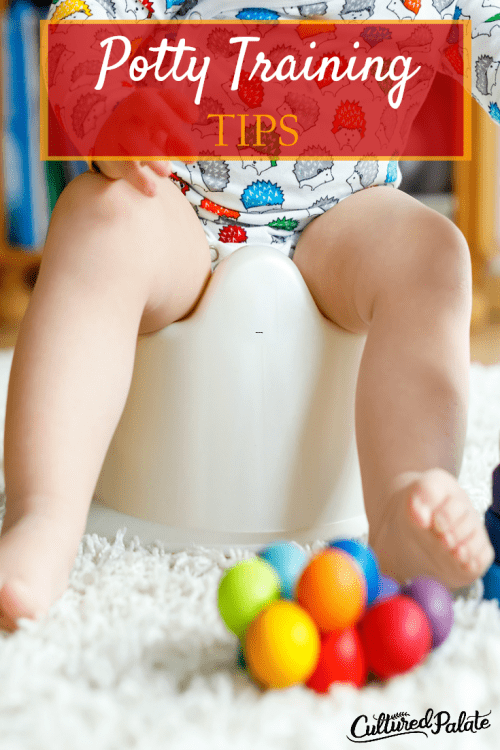 Titled vertical image of Toddler sitting on potty chair with brightly colored balls in front of him from the post Potty Training Tips