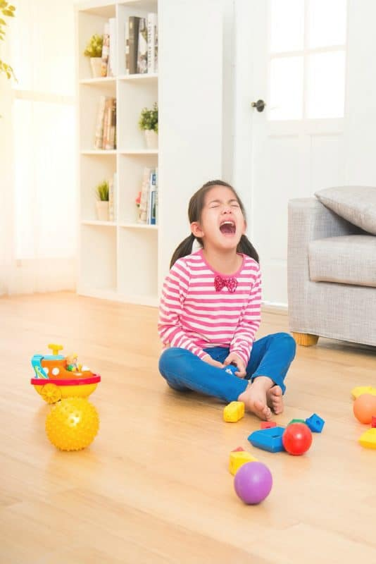 Vertical image of a girl on floor having a temper tantrum from the post, Dealing With Temper Tantrums